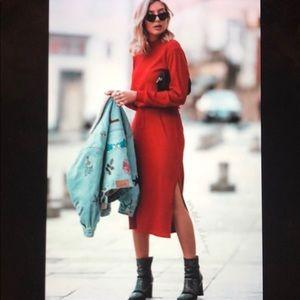 Zara Drawstring Waist Ribbed Dress